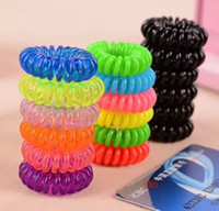 Wholesale Spiral Headbands - wholesale New Brand Girls Women 10 Spiral Plastic Hair Bands Baby Girls Ponytail Stretchy Elastic Bobbles Band