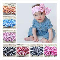 Wholesale hair multi color brand resale online - brand new Baby Kids Girl Flower big Bow stripe Hairband Turban Knot Rabbit Headband Headwear Head Wrap Hair Accessories FD6576