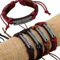 Wholesale Believe Letters - BELIEVE bracelets mens bracelet 12pcs lot Handmade for men's women BELIEVE Leather Bracelet braided Tribal Adjustable Size