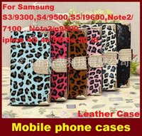 Cuir Strass Wallet Tongues Housse Etui avec support Card Slot pour SamsungS3 S4 S5 Note2 Note3 / N9000, iphoe4G 4s 5G 5s i6 dhl