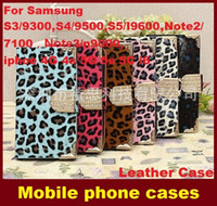 Wholesale Samsungs3 Case - Leather Rhinestones Wallet Flip Case Cover Pouch with Card Slot Holder for SamsungS3 S4 S5 Note2 Note3 n9000,iphoe4G 4s 5G 5s i6 dhl