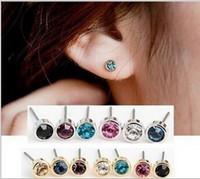 Wholesale 5mm Earring Ear - Cute Women Stud Earrings Charm Earings Ear Stud Shinny Rhinestone Earrings Jewelry Accessories Multicolor Simple Austrian Crystal Earing 5mm