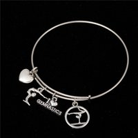 Myshape Cool Moda Aço inoxidável DIY encantos Bracelet Gymnastic Dancing Sports Style Heart Pendant Bangle Wristbands