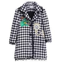 chaquetas abrigos de moda de las niñas al por mayor-Pettigirl pata de gallo Otoño de la chica abrigos con capucha del reloj Patten Abrigos niños de la manera de vestir exteriores de la muchacha chaquetas G-DMOC908-858