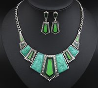 Wholesale Light Blue Statement Necklace - Necklace+Earrings Fashion Alloy Metal Charming Pendants Necklaces Wedding Collar Statement Jewelry Sets For Women GZ93673