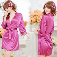 Wholesale Dressing Gowns Sexy Women Satin Lace Robe Sleepwear Lingerie Nightdress G string Pajamas