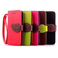 Wholesale Plastic Flip Case Iphone 4s - Leaf Wallet Flip PU Leather Case Stand TPU Cover With Card Slots for iPhone 4 4s 5 5s 6 Plus 6s Plus No Package free DHL