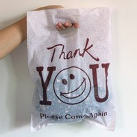 """Wholesale Coffe Shop - Wholesale- Hot Sale 100pcs 25cmx35cm (9.84"""" x 13.77"""")Coffe Thank You Smile Color Plastic Gift Bags With Handles Cloth Shopping Gift Bags"""