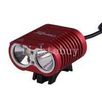 led el feneri kitleri toptan satış-Bisiklet Başkanı Işık Fenerleri 2 x XM-L XML L2 T6 LED Başkanı Torch 18650 Şarj Edilebilir Pil ile Yüksek Güç Farlar şarj cihazı kiti