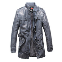 Wholesale vintage leather trench - Wholesale- Mens Trench 2017 New Winter PU Jacket Men Leather motorcycle Thicken long trench coat Jackets Outerwear Male Warm Overcoat