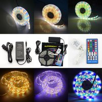 Todo el conjunto impermeable 5M 300LED 600LED 5050 SMD 60leds RGBW RGBWW Led Flexible Light Strip / M 120LED / M Led Tubo Cinta Cinta de luz Kit de Iluminación