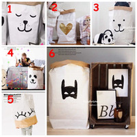 Wholesale Door Paper - INS home storage paper bags 2016 popular cartoon animal baby toy Bags Kids Room cute Decorate Outdoor Lovely bear batman heart Bags