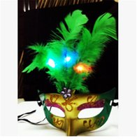 Wholesale Masquerade Feathers - 15pcs lot New Fashion LED Glowing Party Mask Birthday Halloween Princess Feather Mask Light Up Masquerade Masks flash Party mask