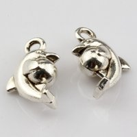 Chaud! 200pcs Antique Silver Lovely Dolphin Ball Charm Pendants Bijoux DIY 9x15mm