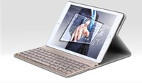 Wholesale Led Ipad Cases - Wireless Bluetooth Keyboard Ultra Slim Aluminum RGB LED backlight with PU leather Case For ipad Air2 5 colors F16S