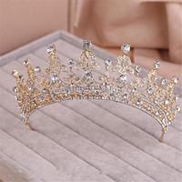 24k altın gelin setleri toptan satış-Eğilim Vintage Lady Tiara Düğün Gelin Balo Kadınlar Altın Kristal Rhinestone Kafa Taçlar Bling Saç Aksesuarları Saç Takı Seti