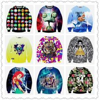 Wholesale Mens Cartoon Hoodies Sale - 2016 sale spring hoodies for women Beautiful 3D Printing color expression sexy female cartoon tiger head long-sleeved sweater mens clothing