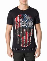 Wholesale Flag Tees - Crystal Beads T-shirts Men American Flag NYC 3D Skull Print T-shirt Short Sleeve Shirt Black White Yong man Slim Tees Sport Polo Shirt 18741