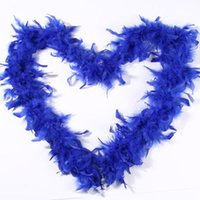feather boa venda por atacado-Boa de Penas Royal Blue Feather Boa Enrole cerimónia de casamento Boas Branco marabu por Costumes Decor Chandelle Feather Boas Transporte rápido