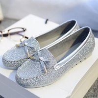 Wholesale Bling Bow Flats - 2015 women's flat heel shoes bling fashion Moccasins bow low comfortable single shoes