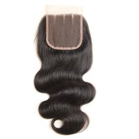 Wholesale brazilian knot hair extension - Virgin hair Lace Closure Body Wave 8A Human Remy Hair Extensions Natural Black Color No Bleached Knots