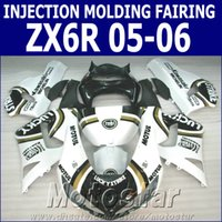 Wholesale Lucky Strike Motorcycle Fairings - 100% Injection molding fairing kit for Kawasaki ZX6R 2005 2006 ZX636 white black LUCKY STRIKE motorcycle fairings Ninja 636 ZX-6R 05 06 GH6