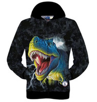 Wholesale Dinosaur Tracksuit - Free shipping Hot new High quality 3D printed dinosaur cotton coat hip hop sweatshirts men hoodies winter jogger Home sportswear tracksuit