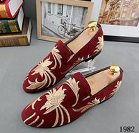 Wholesale Shoes Europe Men - Promotion New 2016 spring Men Velvet Loafers Party wedding Shoes Europe Style Embroidered Blue Red Velvet Slippers Driving moccasins 229
