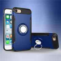 elma araba telefonu tutacağı toptan satış-Samsung S8 Iphone için X 8 Cep Telefonu Kılıfı Dağı Çift Katmanlı Demir Sac Araba Tutucu Manyetik Braketi Halka Zırh Telefon Kılıfı