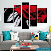 schöne abstrakte ölgemälde großhandel-5 Bildschirm HANDGEMALTE moderne dekorative Leinwand Stück abstrakte Kunst ROSE schöne Ölgemälde für Schlafzimmer Dekoration romantisches Geschenk t5p119
