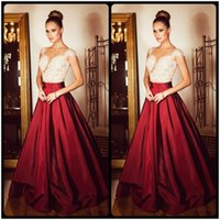 Wholesale Sexy Glamours Dresses - 2016 Glamours Cap Short Sleeves Burgundy Evening Dresses Pearls Beaded White Lace Appliques Long Prom Dress robe de soiree