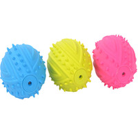 Wholesale Dog Squeaker Ball - Dog Squeaky Chew Toys Rubber Ball Football Rugby Squeaker Toys Rubber Ball , Colors Varies