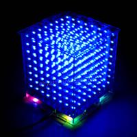 mini display luzes venda por atacado-Atacado-DIY 3D 8S LED mini cubo de luz Com a animação mais perfeita Efeitos / 3D CUBO 8 8x8x8 Kits / Junior, 3D Display LED, Presente de Natal