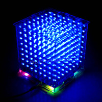 Wholesale Led Cube Diy - Wholesale-DIY 3D 8S LED mini light cube With the most perfect animation Effects  3D CUBE 8 8x8x8 Kits Junior,3D LED Display,Christmas Gift