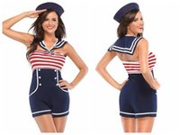 Vestuário feminino holloween Navy Red White Mulheres Pin up Sailor Costume 8847 partido cosplay sexy Halloween fantasias mulheres holloween trajes