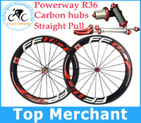 Wholesale Carbon Road Wheels Clincher Set - Hot sale FFWD wheels F6R 60mm wheelset straight pull Powerway R36 carbon hubs full carbon road bicycle bike wheels black red free gifts
