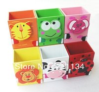 Gros-Livraison gratuite! 20PCS / LOT, Cartoon Bois animaux mignons Pencil Case / Bois Pen Holder Box / Pen