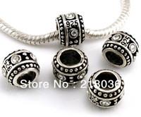 Wholesale Loose Rhinestone Vintage - 40pcs Vintage Silver Alloy Big Hole Loose Beads Rhinestone Spacer Beads Stamp 925 Fit Bracelet Girls Bijoux Accessories A229