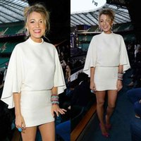 Wholesale New Celebrity Gossip - 2015 Cheap New Sexy Blake Lively Gossip Girl Celebrity Red Carpet Prom Dresses White 3 4 Long Sleeves Mini Short Formal Evening Party Gowns