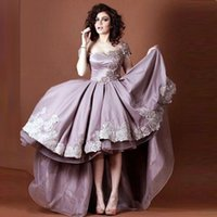 Wholesale Hi Lo Lilac Dress - Off-shoulder Satin Arabic Dresses Party Evening Lace Appliques Beaded Lilac Satin Hi-Lo Formal Evening Gowns Ruched Organza Party Dresses