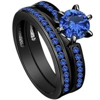 Wholesale Cluster Solitaire Rings - SZ 5-11 Black Wedding Ring Rhodium 2-in-1 Engagement Solitaire Blue Sapphire Crystal Cocktail Bridal Halo