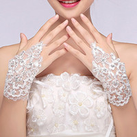 Wholesale Cheap White Fingerless Gloves - HOT Sale New Arrival Cheap In Stock Lace Appliques Beads Fingerless Wrist Length With Ribbon Bridal Gloves Wedding Accessories