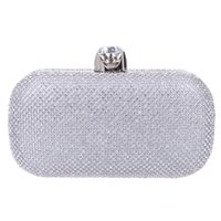Wholesale Silver Prom Handbags Clutches - Rhinestone studded clasp wedding party clutch and handbag women evening party bag ladies prom purse clutch hard shell box clutch bag