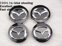 Wholesale Center Stickers For Wheels - 56MM Mazda Wheel Hub Cap Decal Sticker for MAZDA 2 3 5 6 CX-5 CX-7 CX-9 RX8 Center Caps Auto accessories