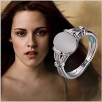 Wholesale Tungsten Solitaire Setting - Twilight New Moon BELLA Natural Moonstone Engagement Ring Wedding Ring silver plated Isabella Swan Cullen Vampire Girl Ring