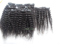 Wholesale Black One Piece Curly Hair - Mongolian virgin hair kinky curly clip in human extensins unprocessednatural black kinky curly hair product 100g 9 small pieces weft one set