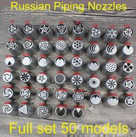 Wholesale nozzle cupcake - Wholesale- 2016 new 50pcs set Russian Tulip Nozzle Perfect For Cake Cupcake Decorating Icing Piping Nozzles russian rose nozzles tips