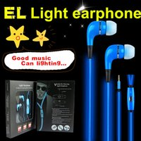 Wholesale Mp3 Lighting - NEW EL Flowing Light Earphone!!!! Mic retail box creative metal in-ear lighting Earphone Headphone IOS Android MP3 MP4 Phone PC EP066
