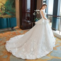 Wholesale Beaded Dress Slit Skirt - long train ball gown wedding dresses 2018 floras applliques beaded bateau neckline v neck bridal wedding gowns
