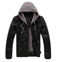 Wholesale Mens Leather Hoods - Fall-New Winter Men'S Black Leather Jacket With Hood Ceket Casaco Mens Motorcycle Leather Jackets Hoodie Jaqueta De Cuero Masculina